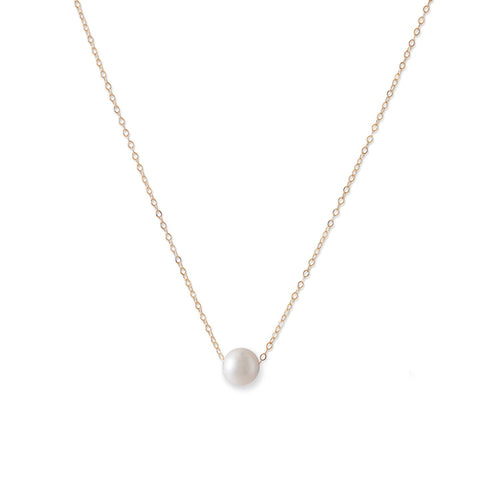 14 Karat Gold Necklace with Cultured Freshwater Floating Pearl - LazerPoints.com