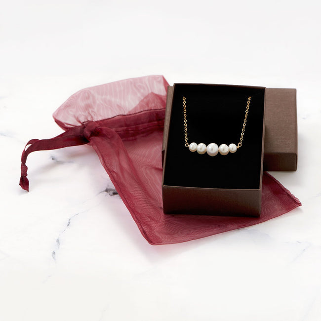 14 Karat Gold Necklace with 5 Cultured Freshwater Pearls - LazerPoints.com