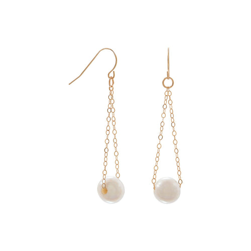 14 Karat Gold French Wire Earrings with Floating Cultured Freshwater Pearl - LazerPoints.com