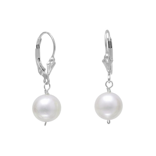 White Cultured Freshwater Pearl Lever Back Earrings - LazerPoints.com