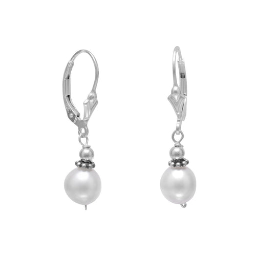 White Cultured Freshwater Pearl with Bali Bead Lever Earrings - LazerPoints.com