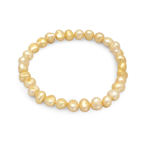 Yellow Cultured Freshwater Pearl Stretch Bracelet - LazerPoints.com