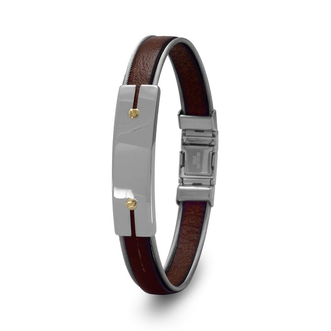 "8.5"" Stainless Steel and Leather Men's Bracelet with 18 Karat Gold Accents - LazerPoints.com"