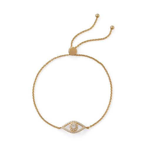 14 Karat Gold Plated CZ Evil Eye Friendship Bolo Bracelet - LazerPoints.com