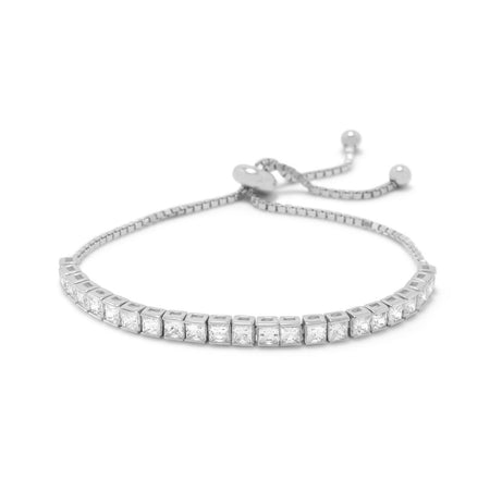 Rhodium Plated Adjustable Heart Pave CZ Bolo Bracelet