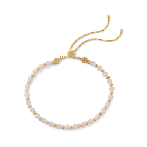 18 Karat Gold Plated Faceted Rose Quartz Bolo Bracelet - LazerPoints.com