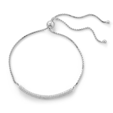 Rhodium Plated Crescent Moon CZ Necklace