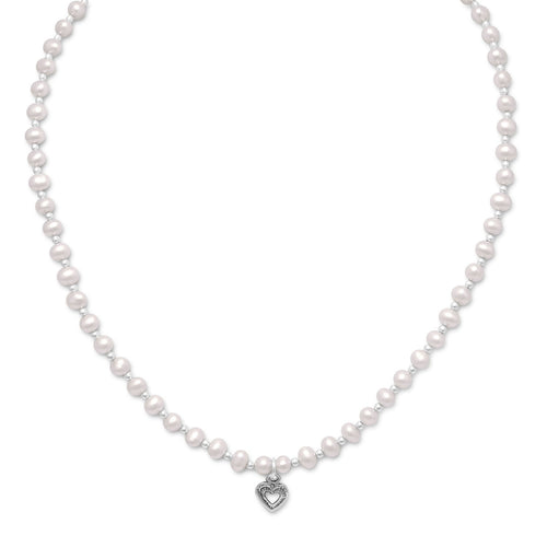 "13""+2"" Extension Cultured Freshwater Pearl/Silver Bead Necklace with Oxidized Heart - LazerPoints.com"