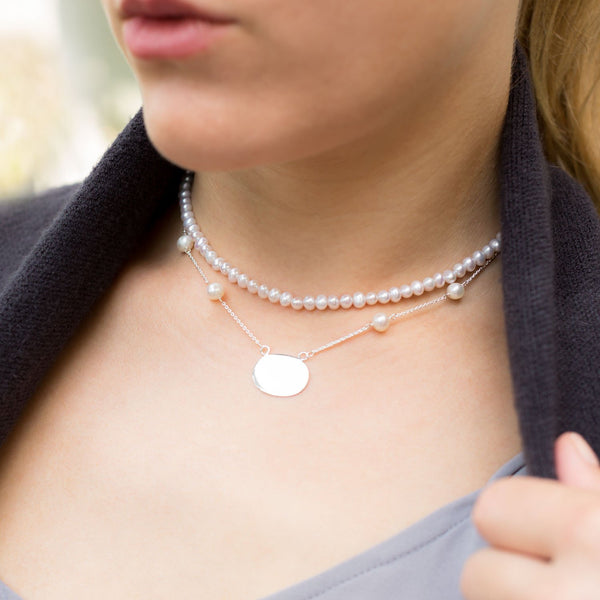 "16"" ID Tag Necklace with White Cultured Freshwater Pearls"