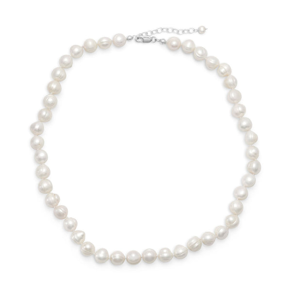 "18""+2"" Extension White Cultured Freshwater Pearl Necklace - LazerPoints.com"