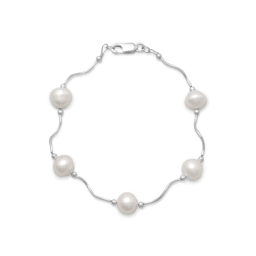 "8"" Wave Design Bracelet with Cultured Freshwater Pearls - LazerPoints.com"