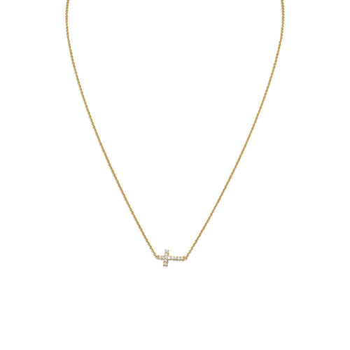 "16"" 14 Karat Gold Plated Necklace with Sideways CZ Cross - LazerPoints.com"
