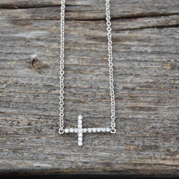"16"" + 2"" Rhodium Plated CZ Sideways Cross Necklace - LazerPoints.com"