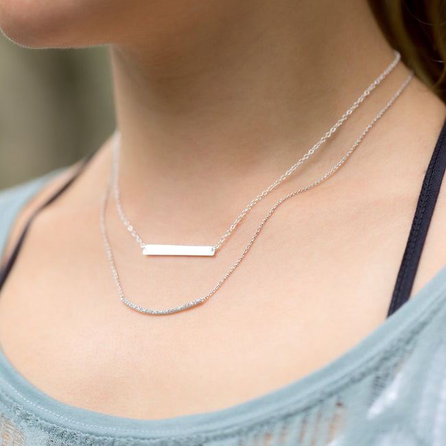 "16"" + 2"" Thin Bar Nameplate Necklace - LazerPoints.com"