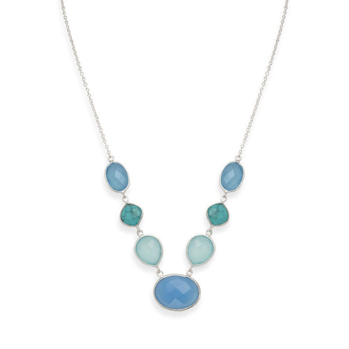Stabilized Turquoise and Chalcedony Necklace - LazerPoints.com