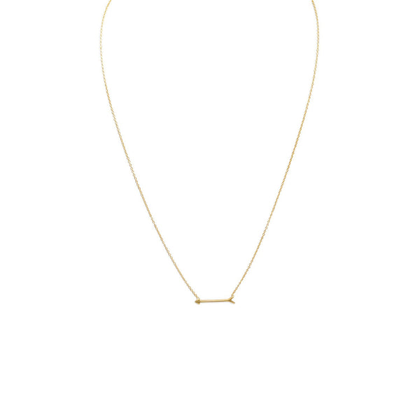 "16"" + 2"" 14 Karat Gold Plated Arrow Design Necklace - LazerPoints.com"