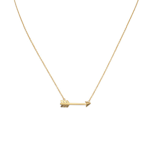 14 Karat Gold Plated Aim High Arrow Necklace - LazerPoints.com