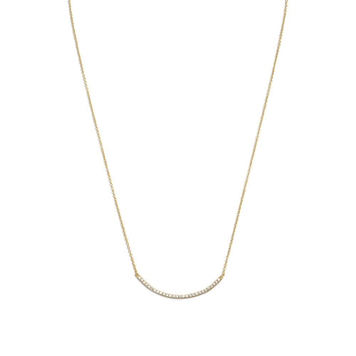 "18"" + 2"" 14 Karat Gold Plated Curved CZ Bar Necklace - LazerPoints.com"