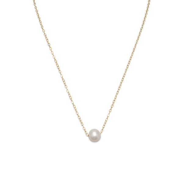 "16"" + 2"" Gold Filled Floating Cultured Freshwater Pearl Necklace - LazerPoints.com"