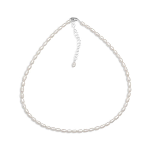 "13"" + 2"" Cultured Freshwater Rice Pearl Necklace - LazerPoints.com"