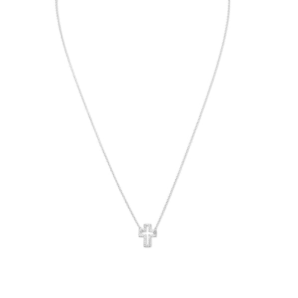 Delicate Sideways Cross Necklace with CZs - LazerPoints.com