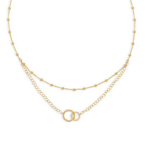 "16"" 14 Karat Gold Plated Multistrand Beaded Necklace with Circle Link - LazerPoints.com"