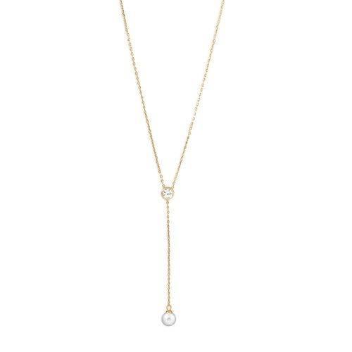 14 Karat Gold Plated Necklace with CZ and Imitation Pearl Drop - LazerPoints.com