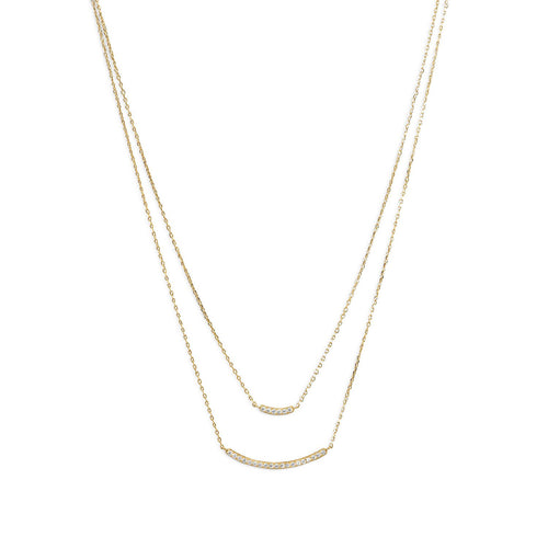 14 Karat Gold Plated Double Strand Curved CZ Bar Necklace - LazerPoints.com