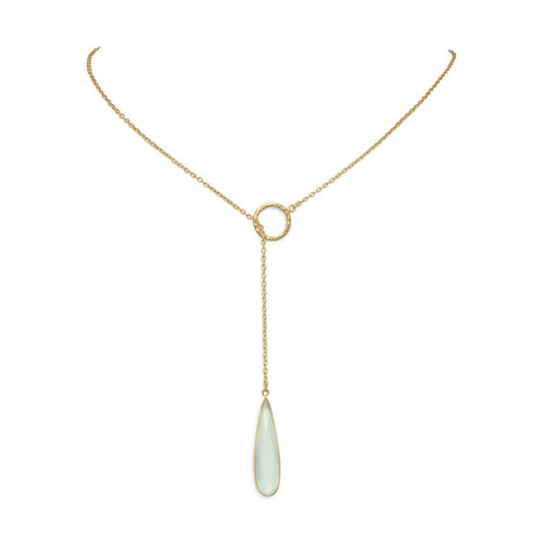 14 Karat Gold Plated Lariat Necklace with Chalcedony Drop - LazerPoints.com