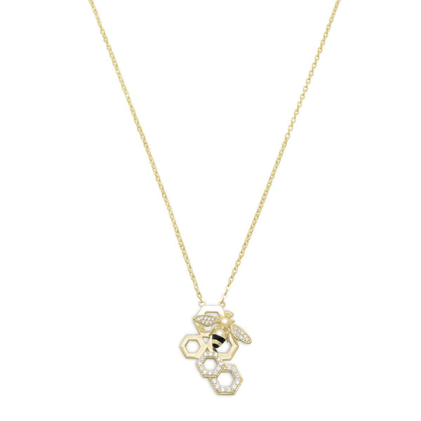 14 Karat Gold Plated and Signity CZ Bee Necklace - LazerPoints.com