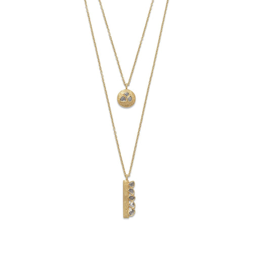 14 Karat Gold Plated Double Strand Polki Diamond Necklace - LazerPoints.com