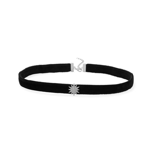 Rhodium Plated CZ Star Black Velvet Choker Necklace - LazerPoints.com