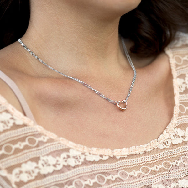 Two Tone Double Strand Open Heart Necklace - LazerPoints.com