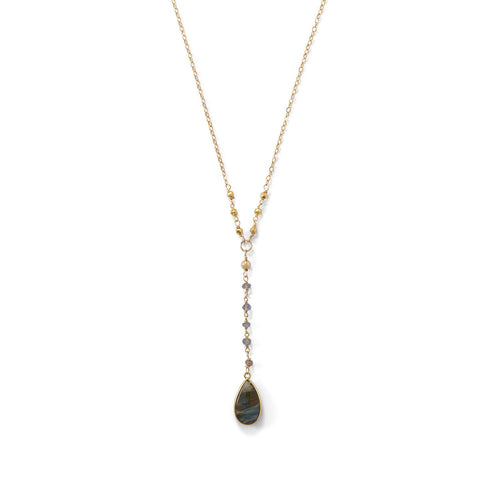 14 Karat Gold Plated Labradorite Drop Necklace - LazerPoints.com
