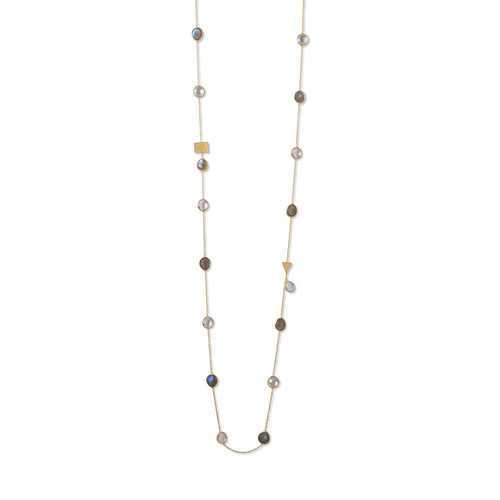14 Karat Gold Plated Labradorite and Clear Quartz Endless Necklace - LazerPoints.com