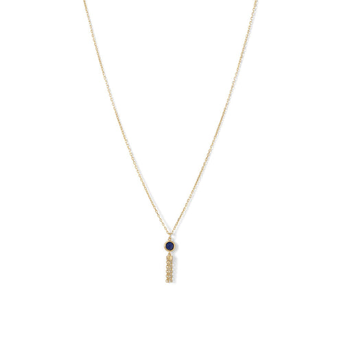 14 Karat Gold Plated Mini Lapis and Tassel Necklace - LazerPoints.com