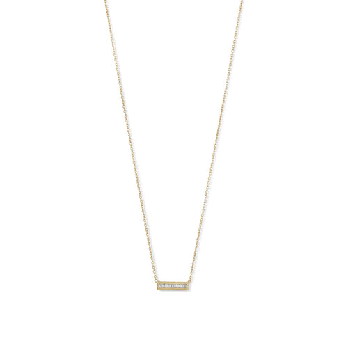 14 Karat Gold Plated Mini CZ Bar Necklace