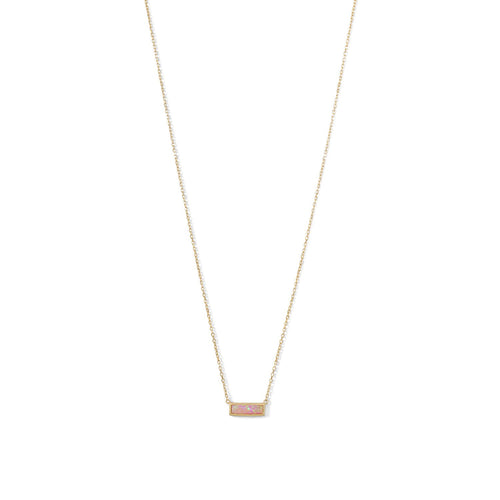 14 Karat Gold Plated Mini Synthetic Pink Opal Bar Necklace - LazerPoints.com