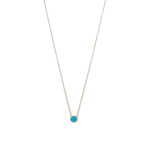 14 Karat Gold Plated Mini Synthetic Blue Opal Necklace - LazerPoints.com