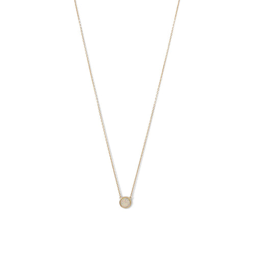 14 Karat Gold Plated Mini Synthetic White Opal Necklace - LazerPoints.com