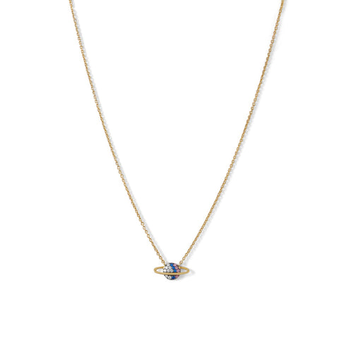 14 Karat Gold Plated Mini CZ Planet Necklace - LazerPoints.com