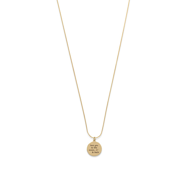 "14 Karat Gold Plated ""Love You To The Moon And Back"" Necklace - LazerPoints.com"