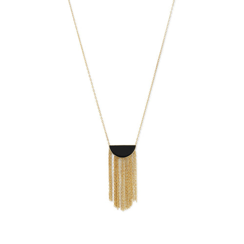 14 Karat Gold Plated Black Onyx and Fringe Necklace - LazerPoints.com