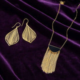 14 Karat Gold Plated Fringe Leaf Earrings - LazerPoints.com
