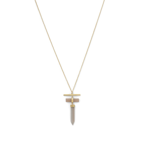 14 Karat Gold Plated Pencil Cut Gray Moonstone Drop Necklace - LazerPoints.com