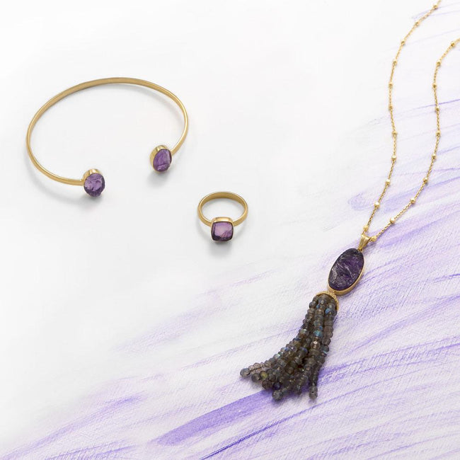 14 Karat Gold Plated Amethyst and Labradorite Tassel Necklace - LazerPoints.com