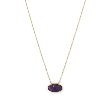 14 Karat Gold Plated Curved Bar Amethyst Drop Necklace