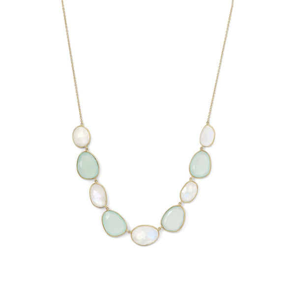 14 Karat Gold Plated Rainbow Moonstone and Green Chalcedony Necklace - LazerPoints.com