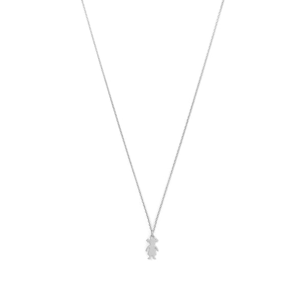 Rhodium Plated Girl Necklace - LazerPoints.com