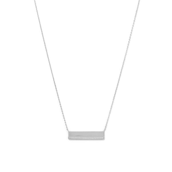 Rhodium Plated CZ Polished Bar Necklace - LazerPoints.com